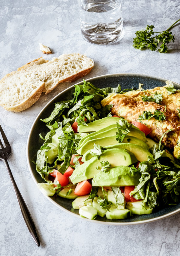 French omelette with feta and crudité salad