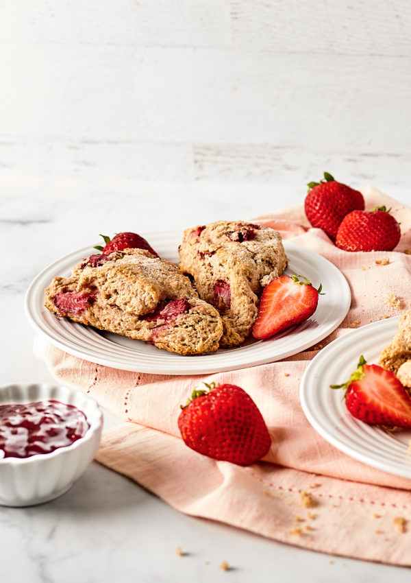 Sour cream strawberry scones with whole wheat flour