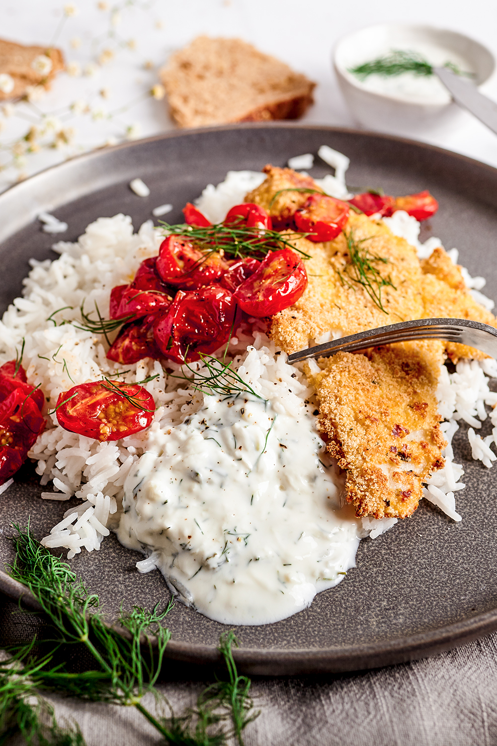 Oven crispy fish with roasted cherry tomatoes