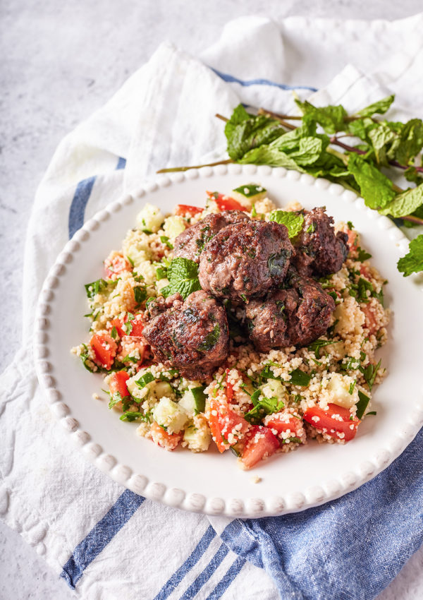 Mint meat balls and tabouli