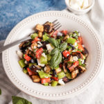 Roasted eggplant salad with bell pepper and feta