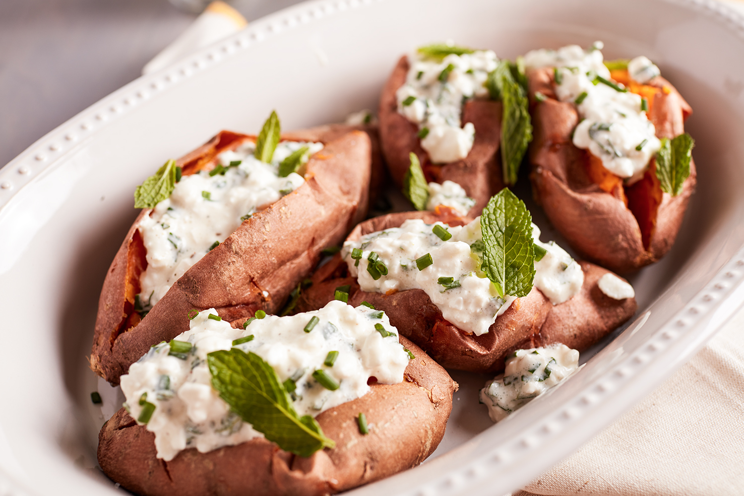 Stuffed Sweet Potatoes with herb cheese
