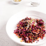 Red cabbage and carrot with black rice salad