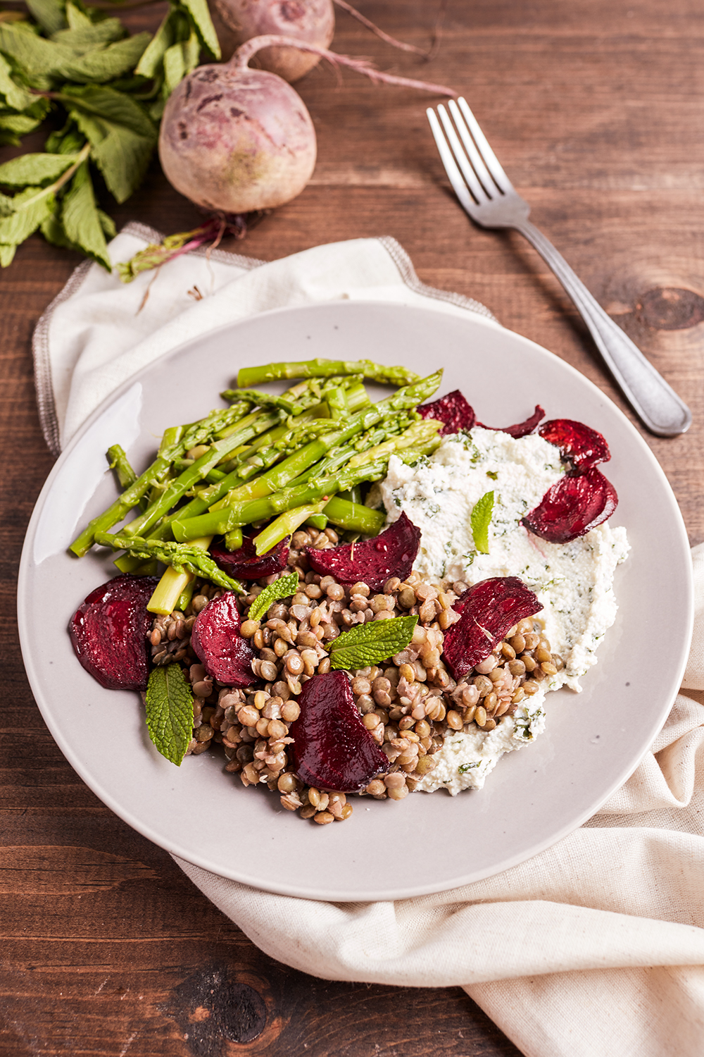 Lentils and roasted beetroot with mint ricotta