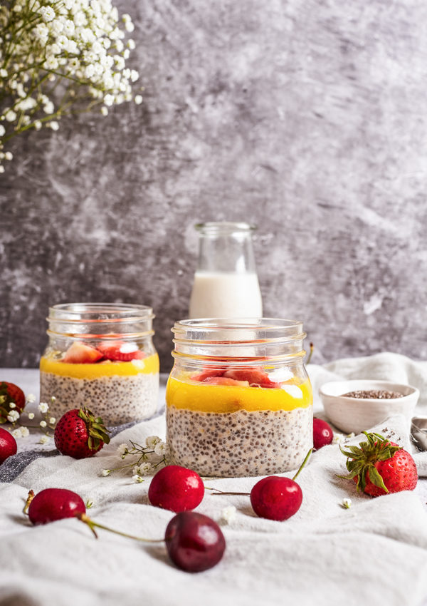 Chia pudding with mango and strawberries