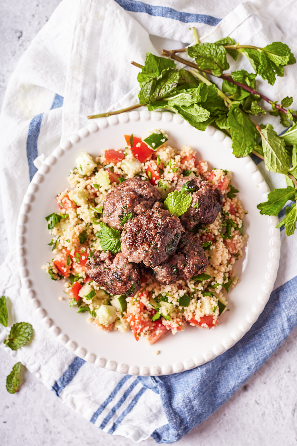 Mint meatballs with tabouli