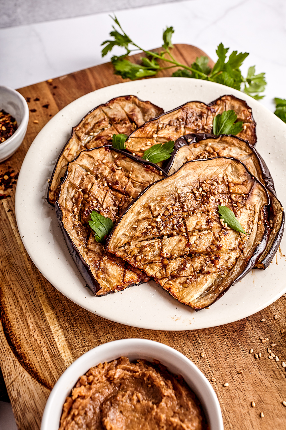 Miso marinated and spicy eggplant