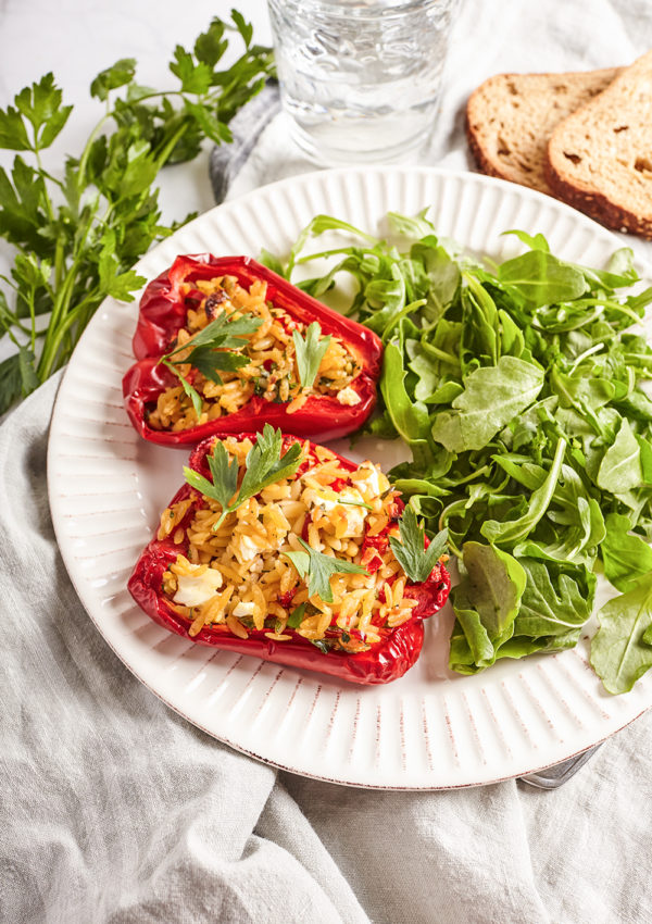 Stuffed bell peppers with feta and orzo