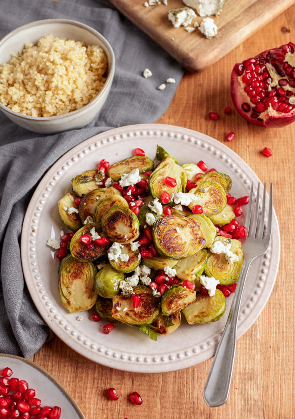 Grilled Brussels Sprouts with pomegranate and goat cheese