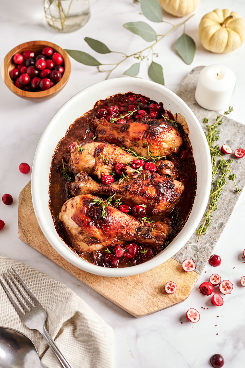 Cranberries balsamic roasted chicken