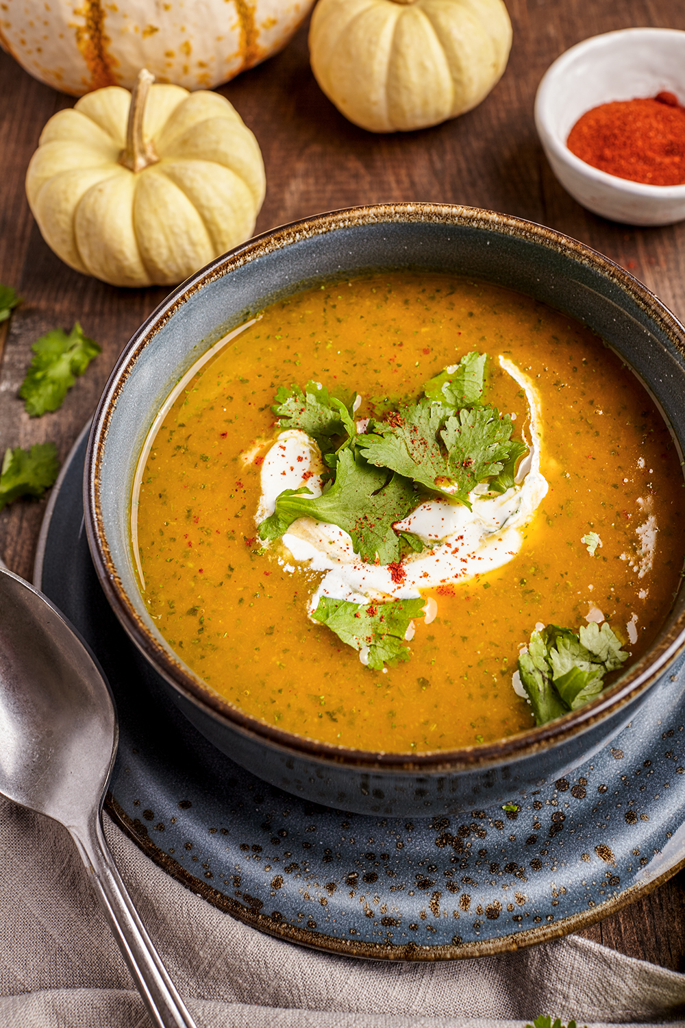 Spicy butternut and cilantro soup