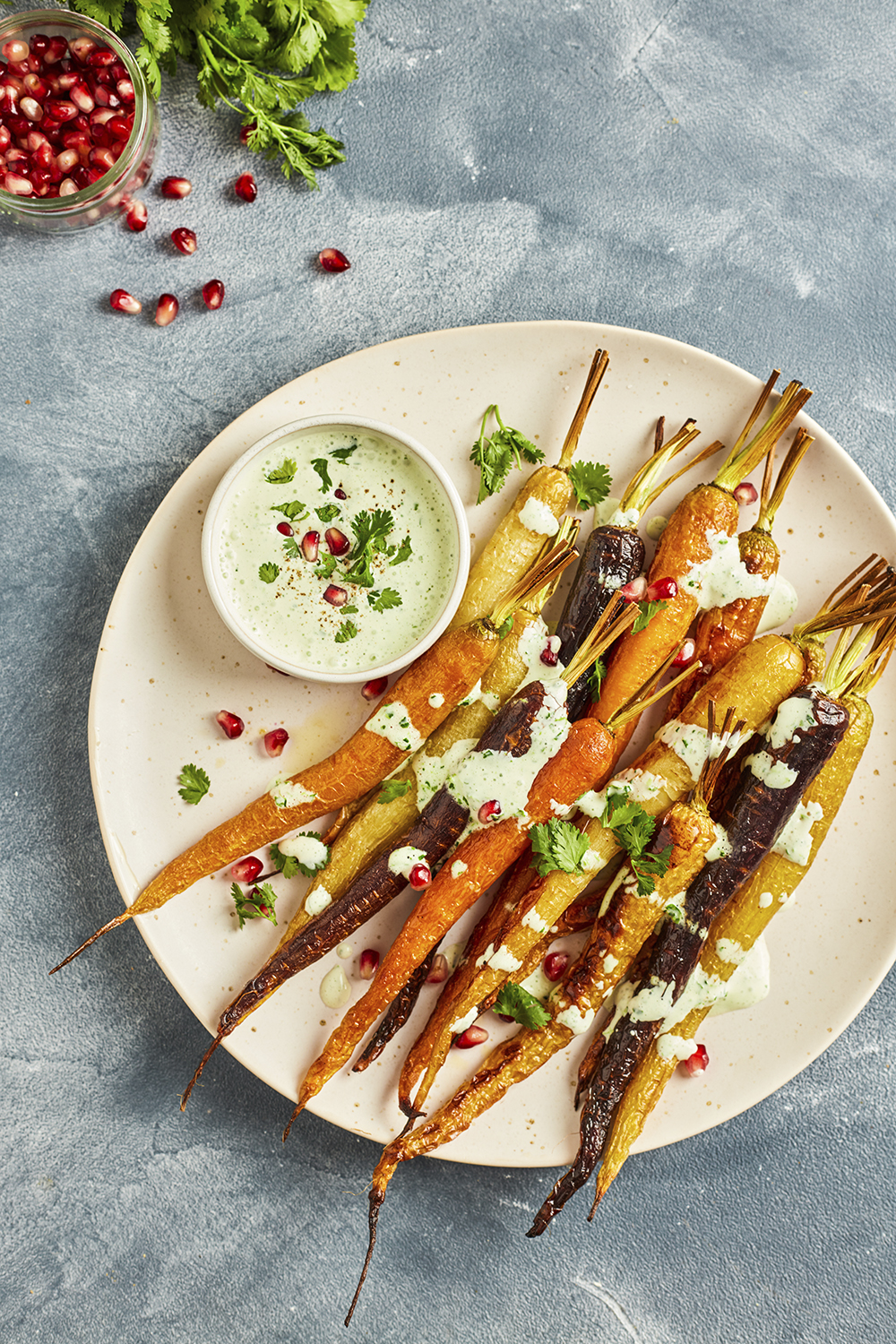 Roasted carrots with coriander sauce